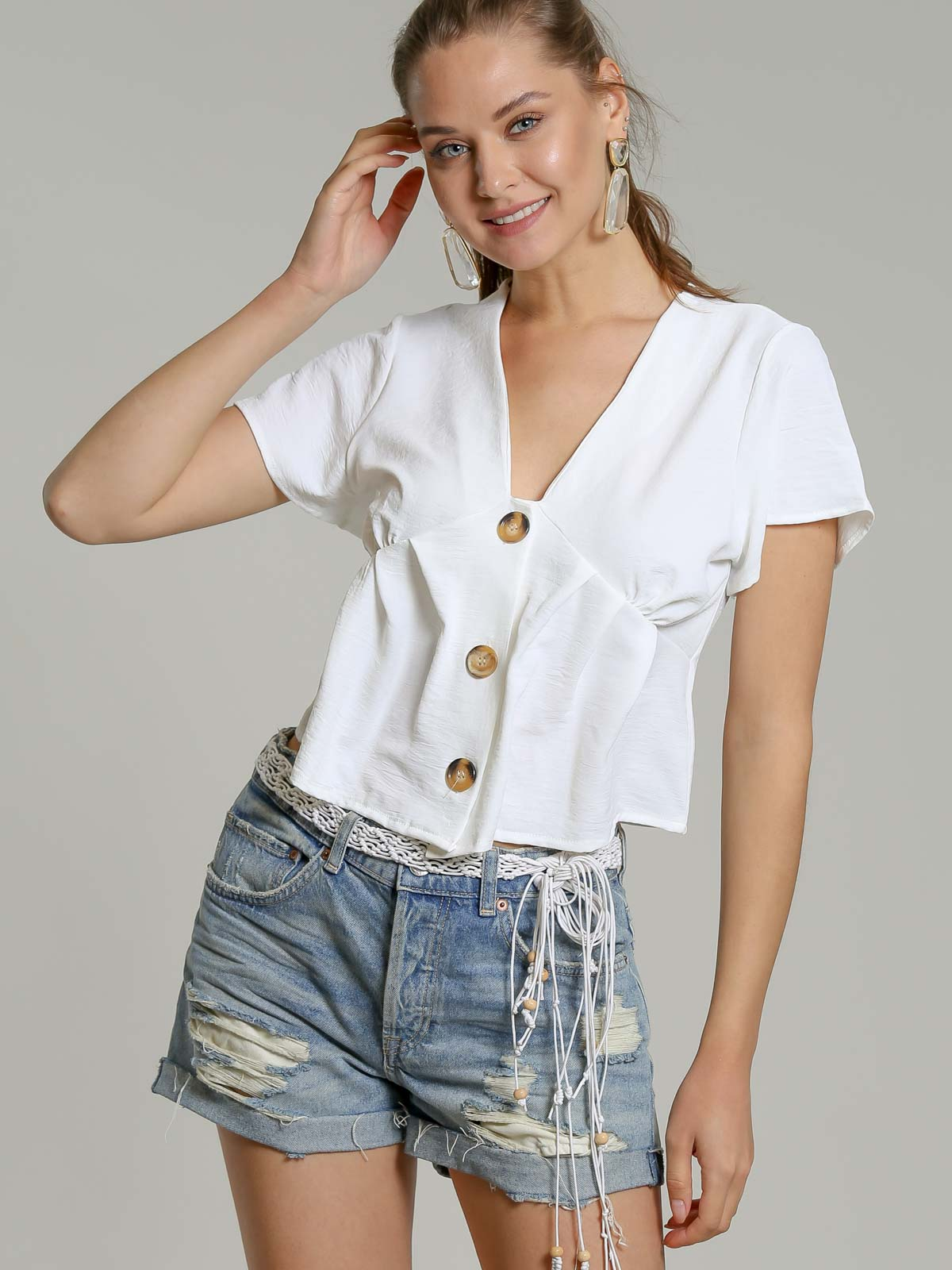 Woven half long sleeve blouse with button detail