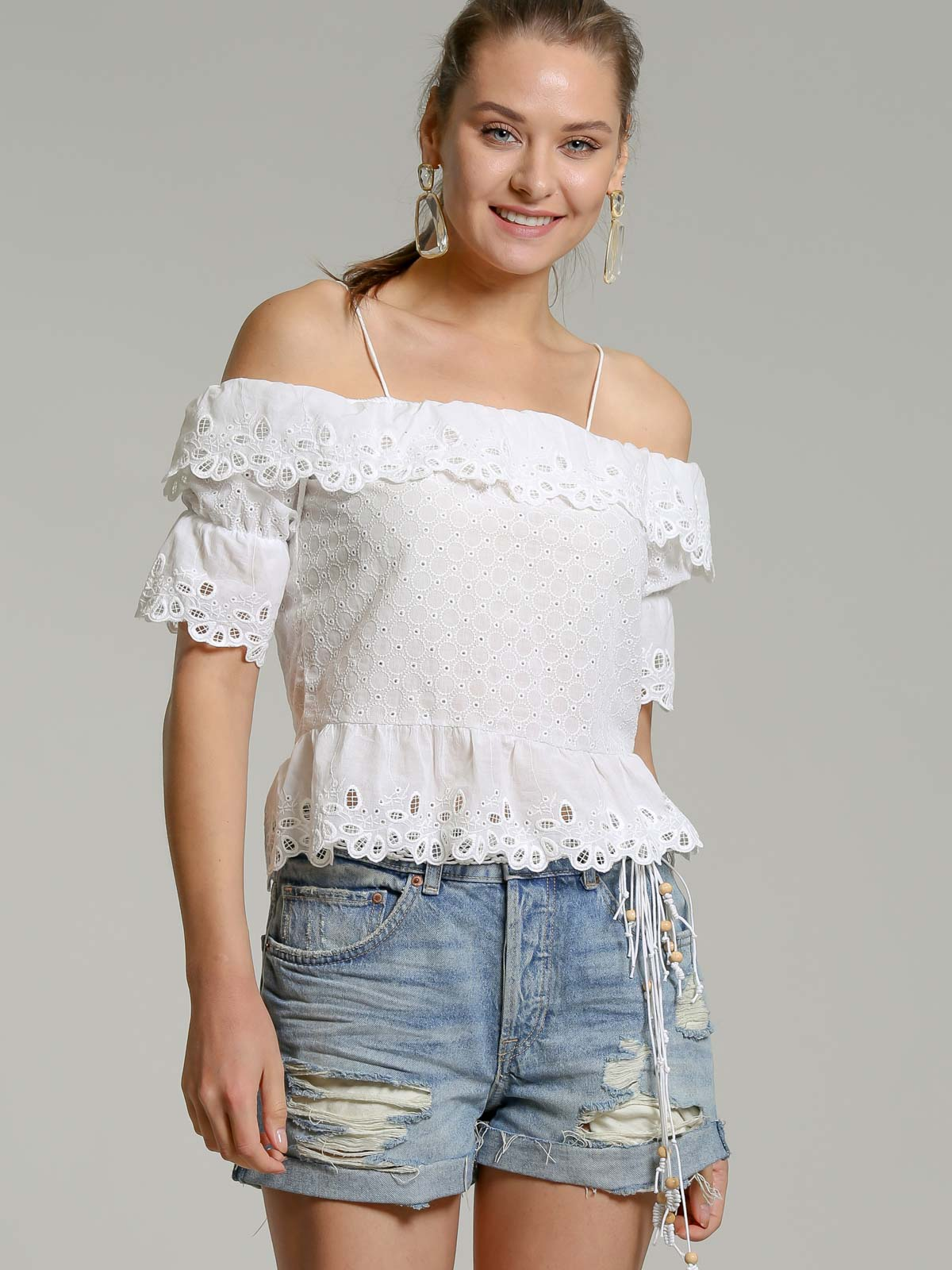 Allover embroidered carmen blouse with cross back detail