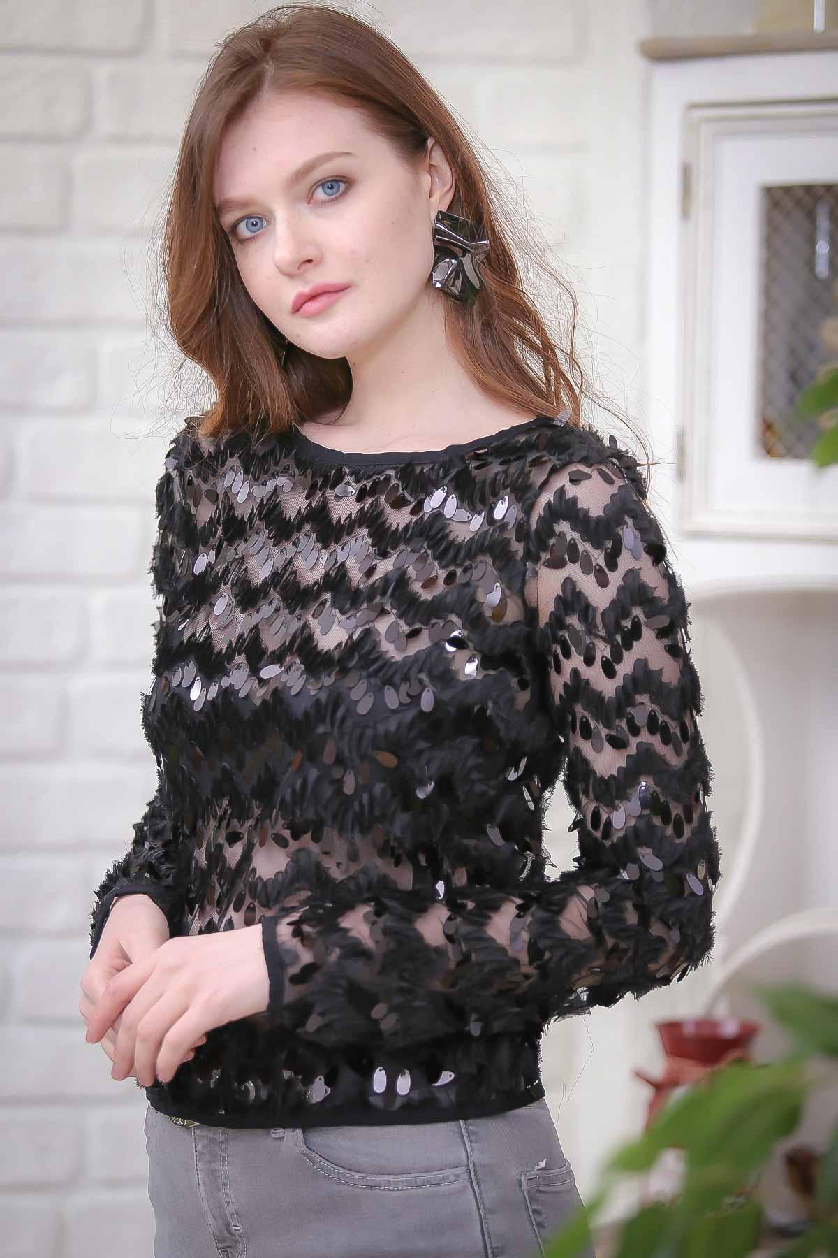 Drop flakes detailed lace blouse