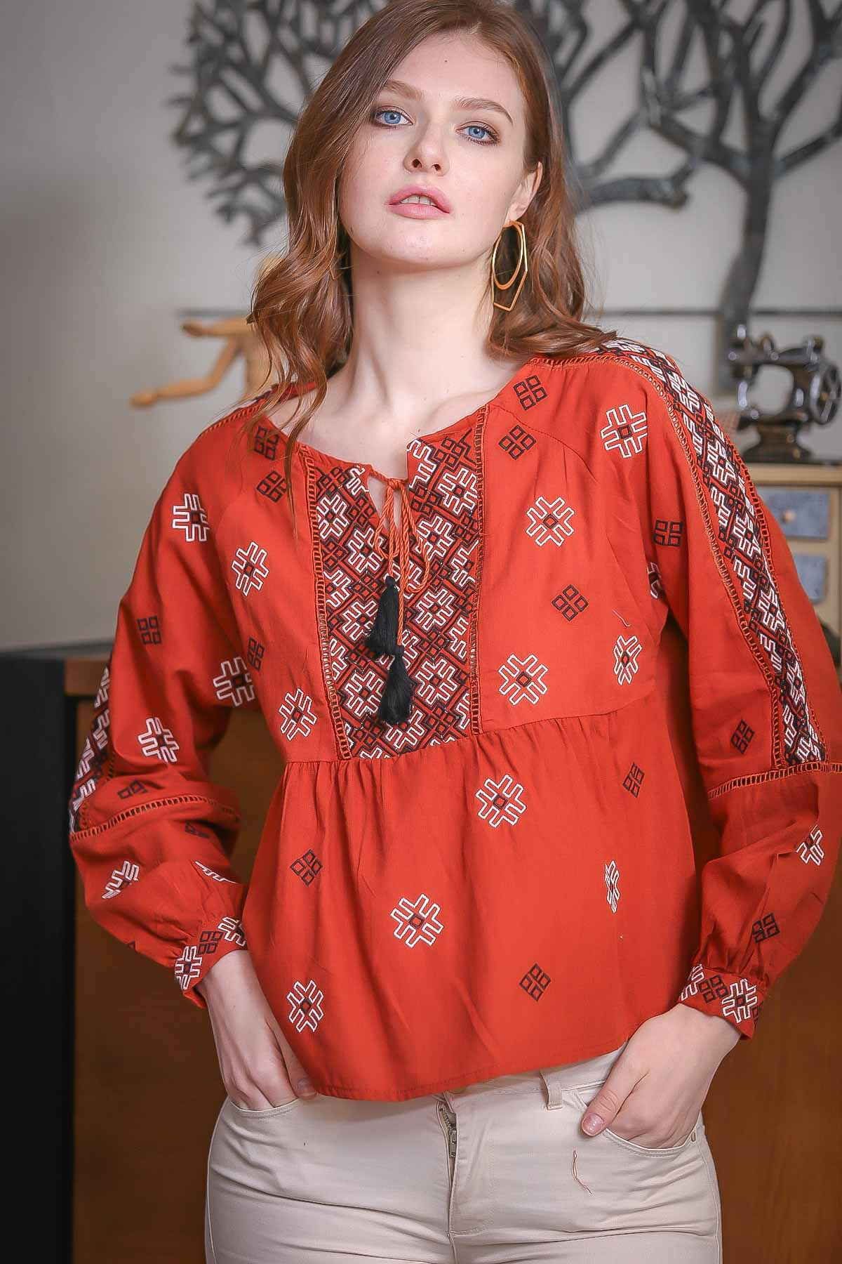 Embroidery detail tie neck blouse