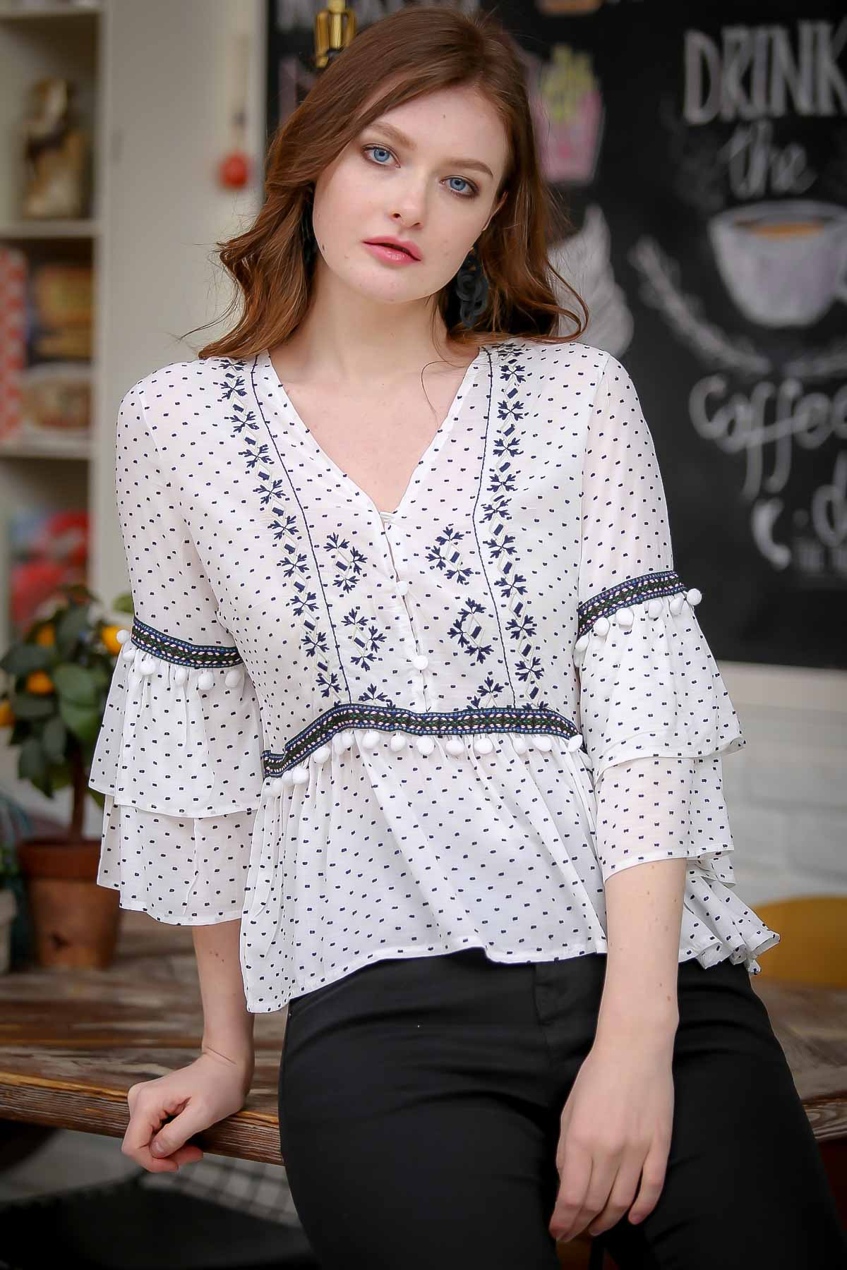 Pompom detailed embroidered woven blouses