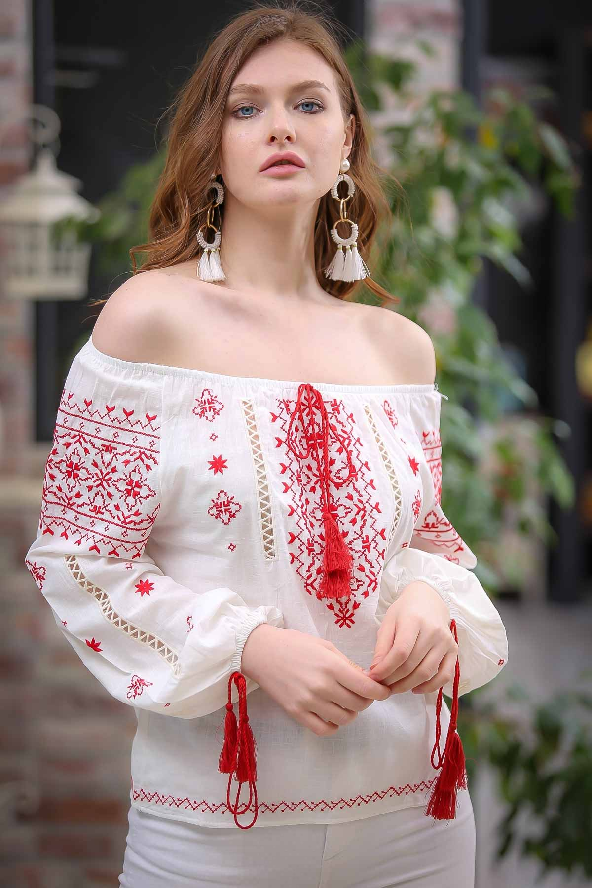 Carmen canvas collar blouse embroidered sleeves tassel detail
