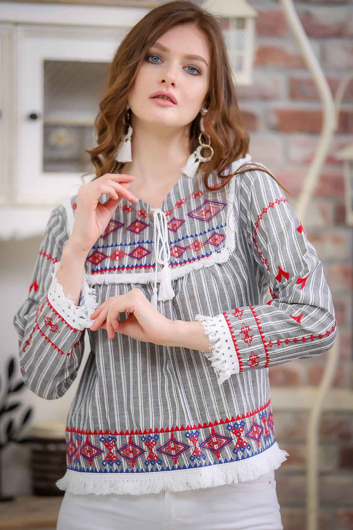 Tribal retro striped blouse embroidered tassel detail