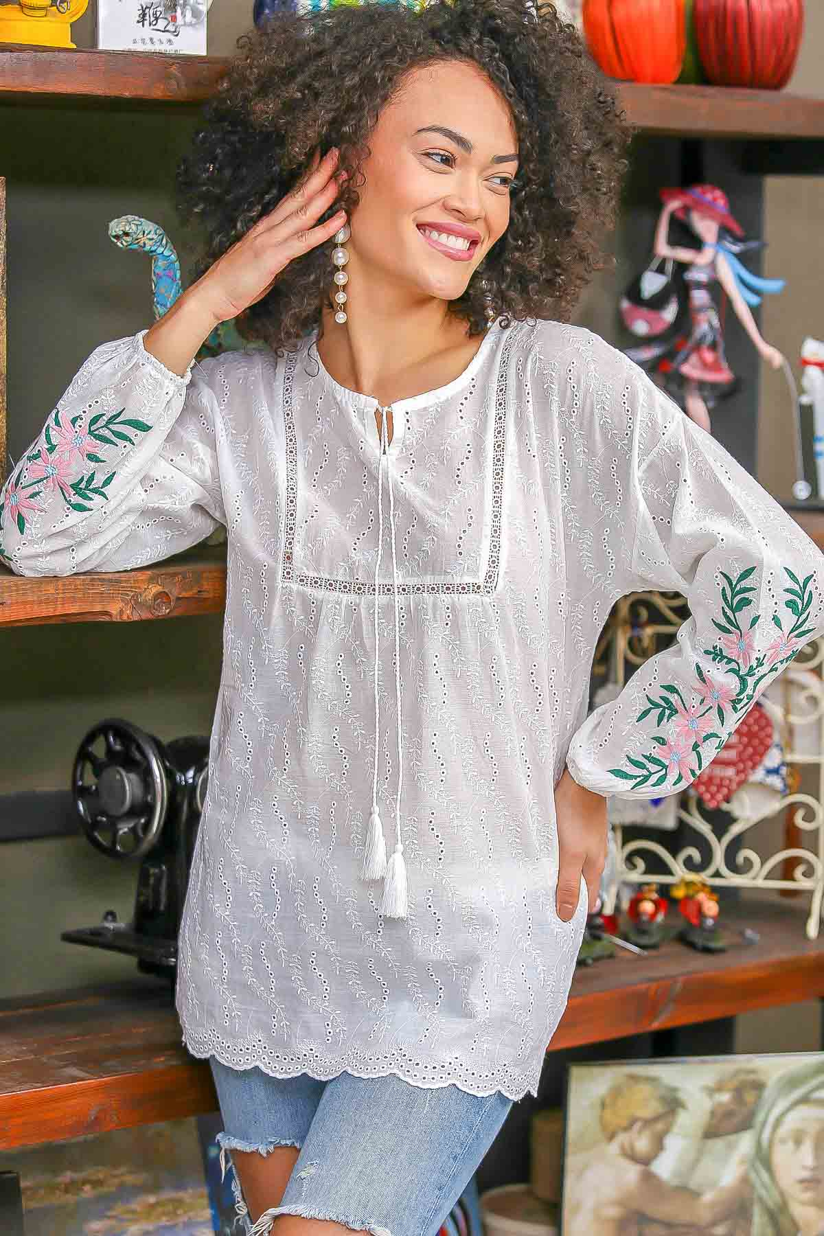 Floral embroidered sleeves detailed blouse