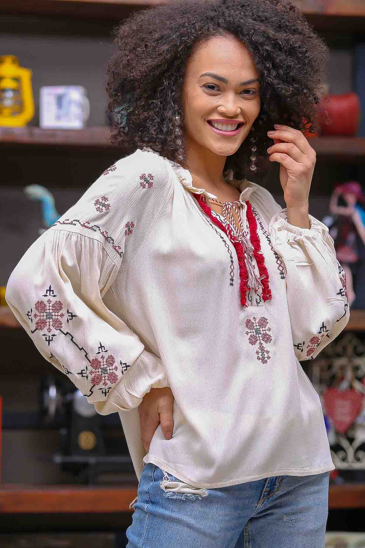 Tassel detail canvas embroidered blouse