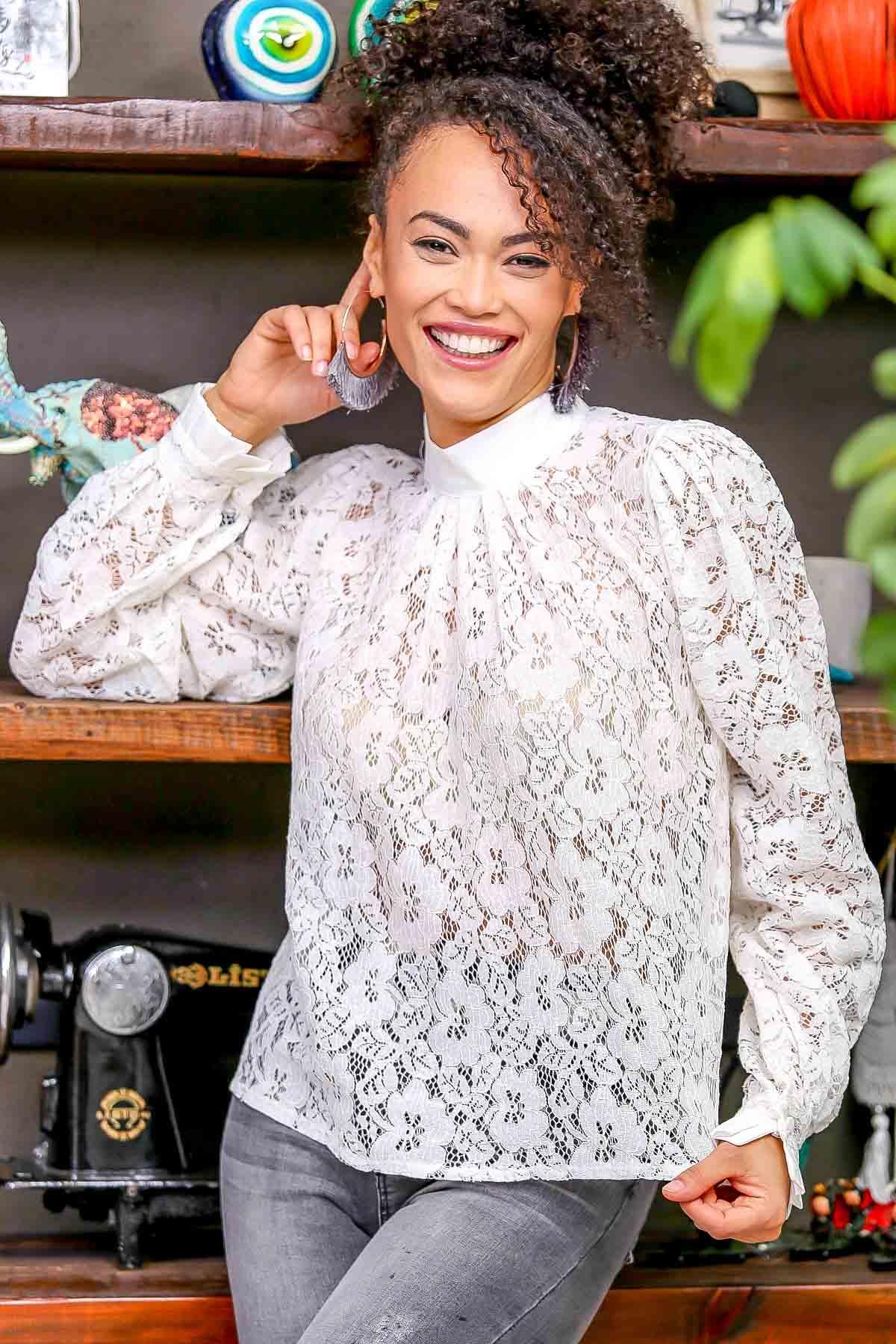 Baroque high neck lace blouse