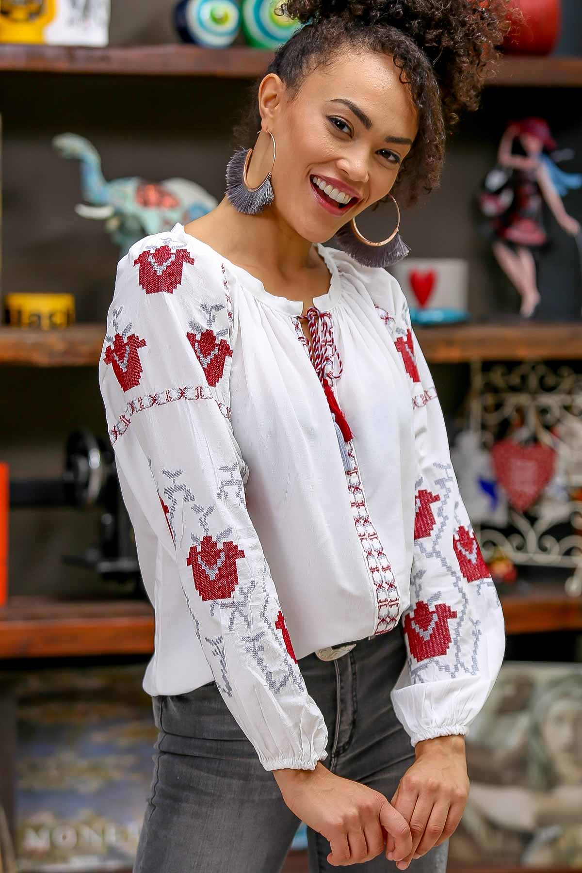 Bohemian giant tulips embroidered tassel detail blouse