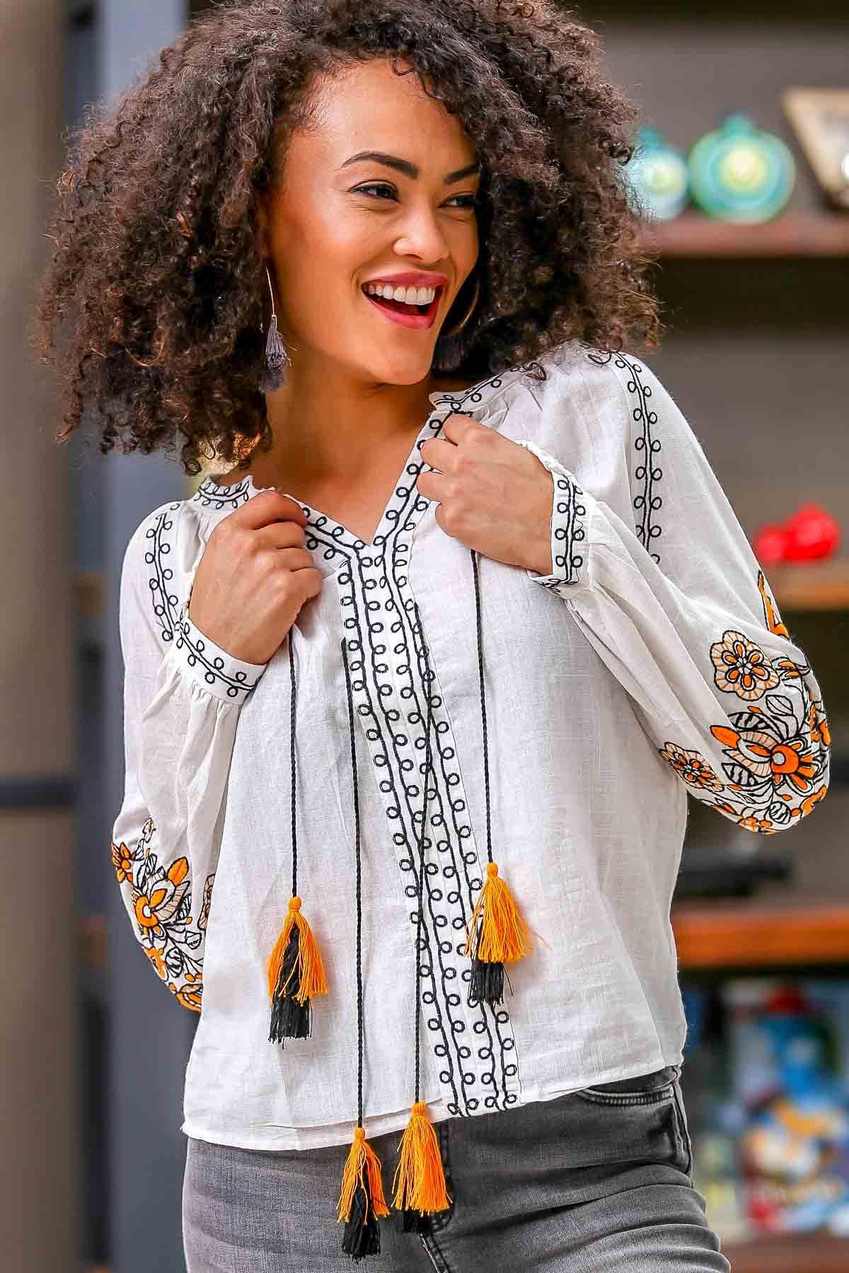 Bohemian lilies flowers embroidered collar and tie blouse with tassel tie detail
