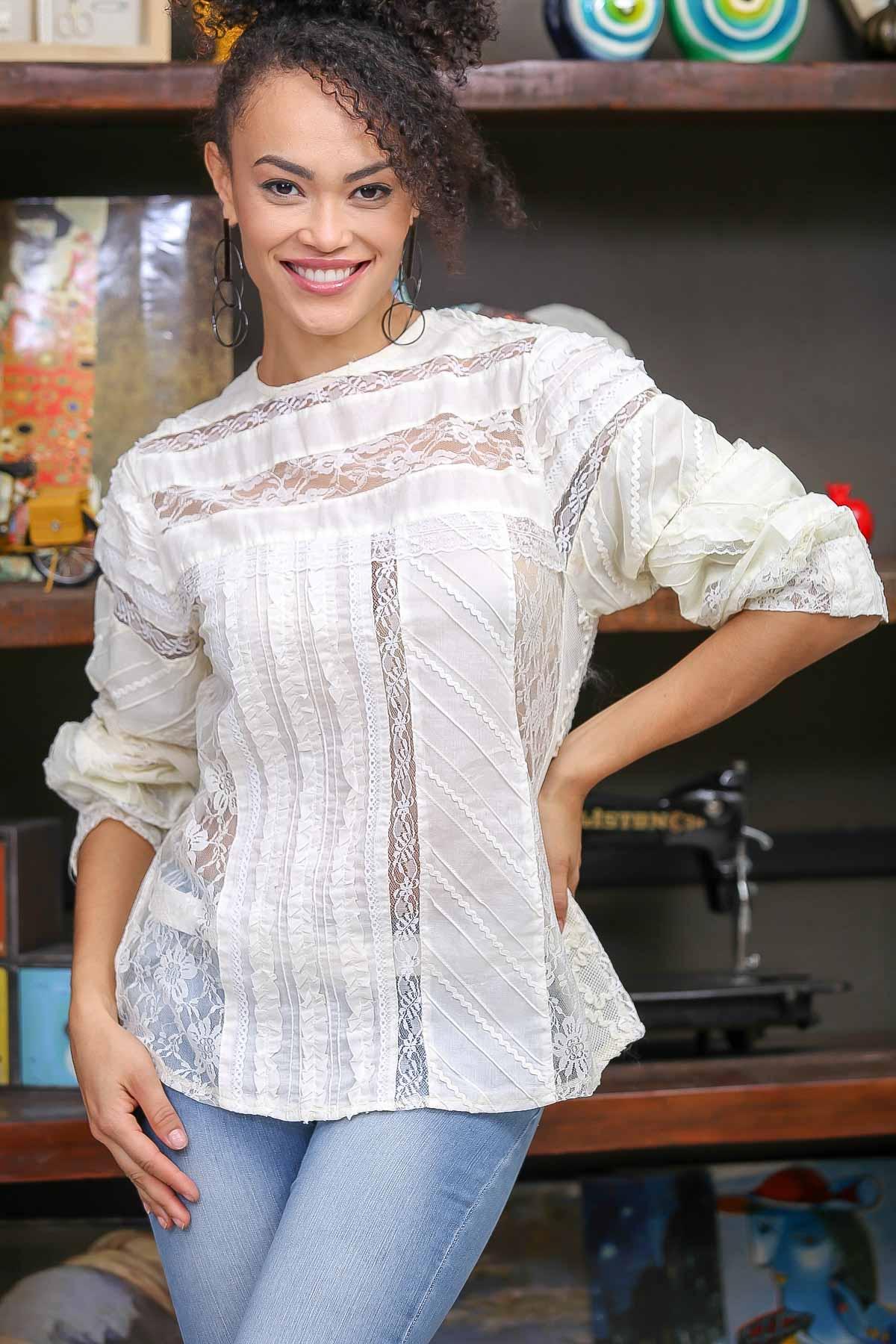 Vintage Patchwork detail lace blouse