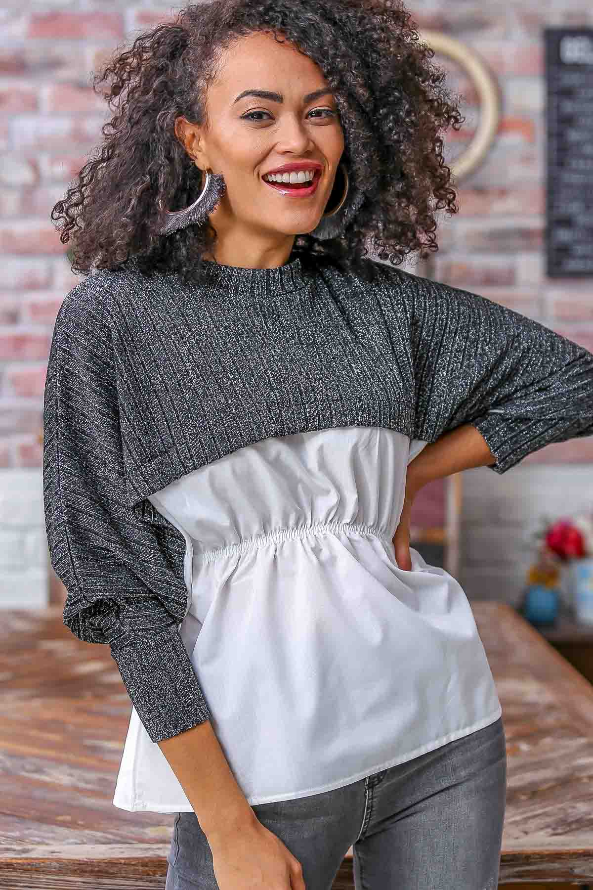 Upper silvery fabric elasticated waist detail double blouses
