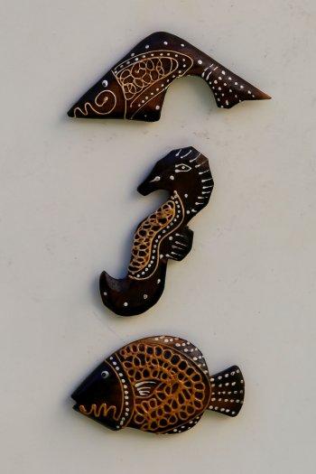 African Ahşap Balık Ve Deniz Atı Üçlü Magnet Set