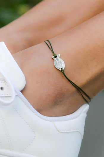 Green leather cord fish charm designer anklet
