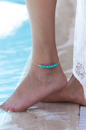 Blue cube stones and shiny beads designer anklet