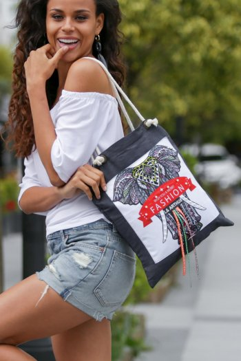 Shoulder Bag with art print