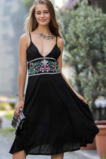 Cami dress with embroidery