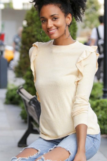 Long Sleeve Top with Frills