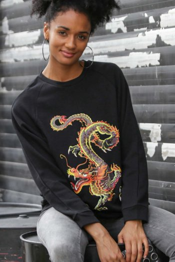 Dragon baskılı reglan sweat