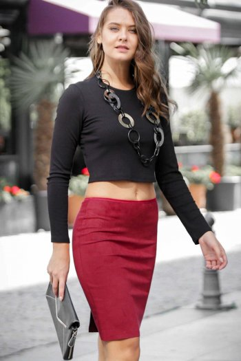 Suede mini skirt with back split