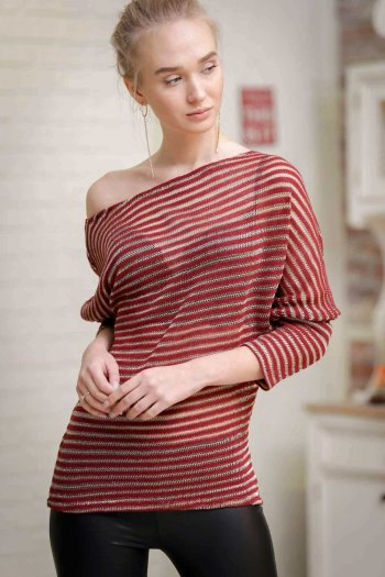 Batwing sleeve knit top in stripes