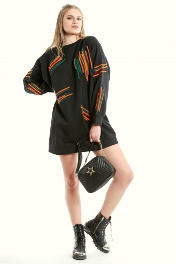 Embroidery detailed tunic dress