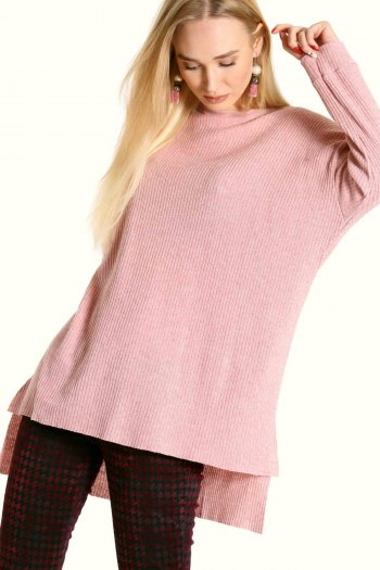 Crew neck tunic top in pink