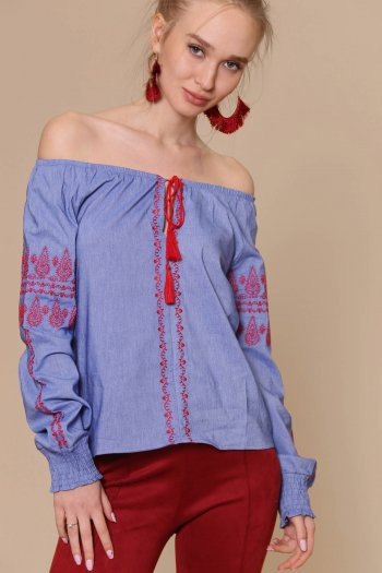 Embroidery detailed bardot blouse