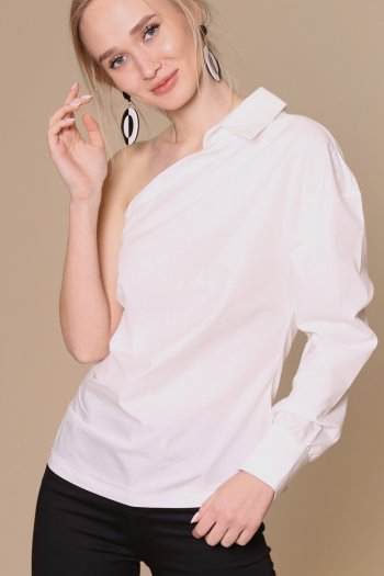 One shoulder shirt with side zipper