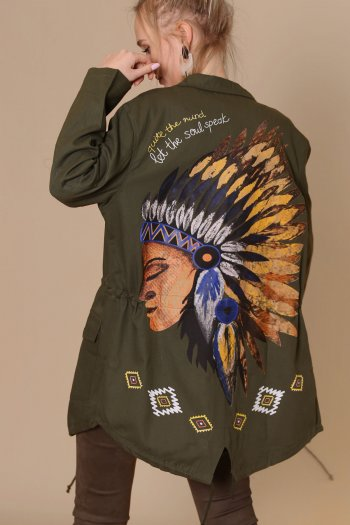 Indian figure parka coat