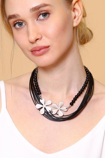 Black crystals and metal flower statement necklace with black leather hand-braided cord