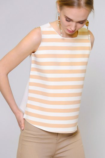 11bffe642cdb23 Striped scuba sleeveless blouse