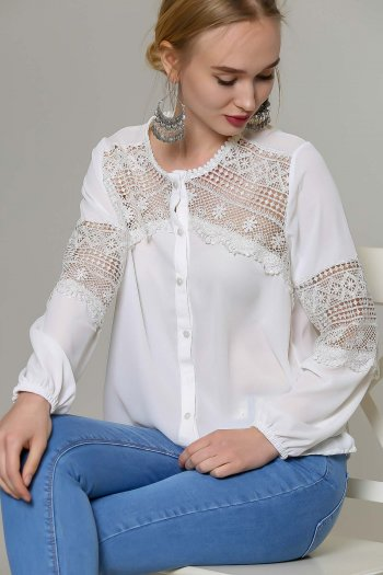 White Crochet-Panel Button-Up Top