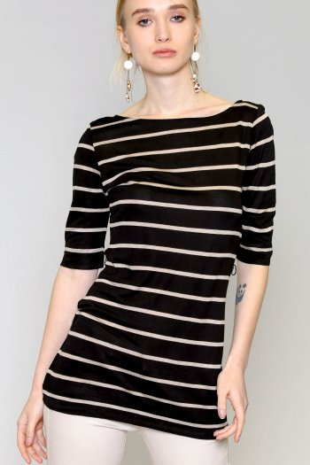 Button shoulder tunic top in stripes