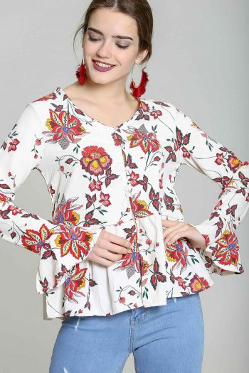 White & Red Floral Ruffle-Hem Bell-Sleeve Button-Up Top