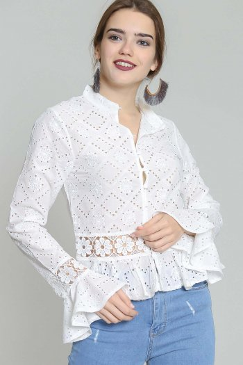 White Floral Crochet Bell-Sleeve Button-Up Top