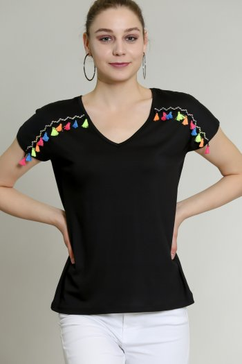 V neck tshirt with rainbow tassel detail