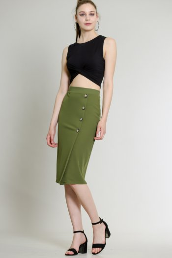 Pencil skirt with button detail