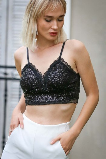 Strappy sequin crop top with zip back fastening and hidden support detail