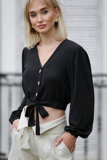 Woven balloon sleeve crop blouse with button detail