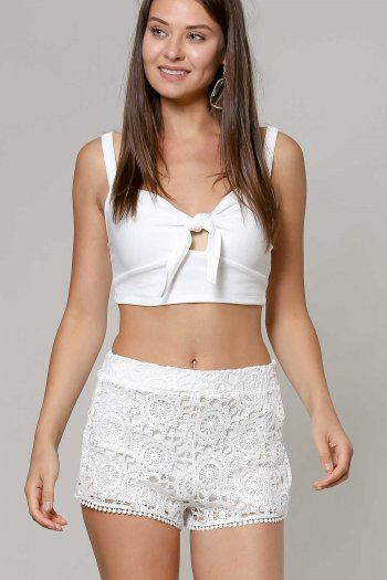 Vintage short with lace and stretch insert detail