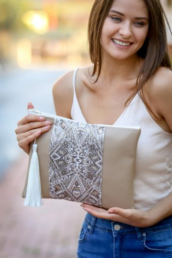 Faux Leather Clutch Bag with Tassel