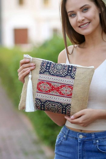 Burlap Clutch Bag with patch embroidery and Tassel