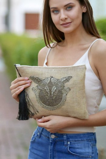 Burlap Clutch Bag with embroidery and Tassel