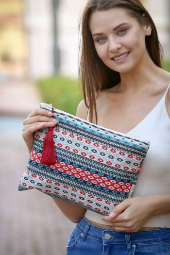 Floral Fabric Clutch Bag with Tassel