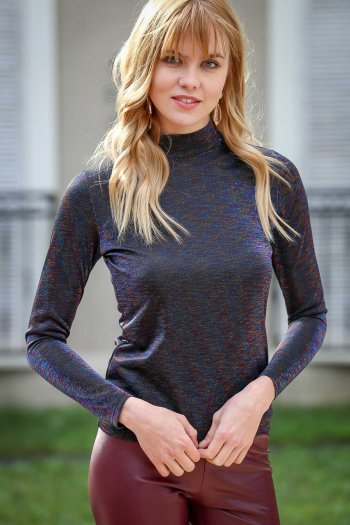 Vintage turtle neck glitter blouse