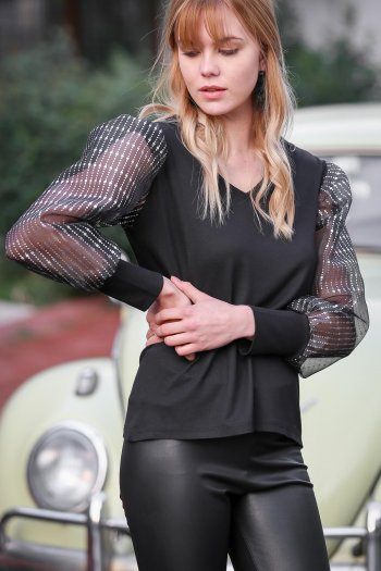 Casual V-neck glitter sleeves organza blouse