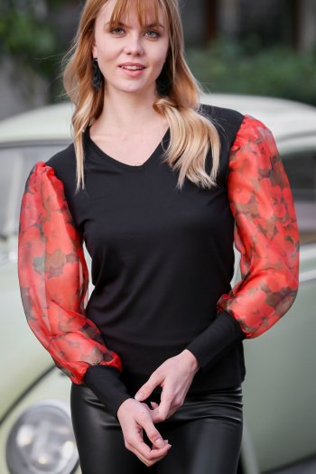Casual V-neck roses sleeves organza blouse