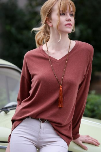 Casual V-neck sloppy blouse