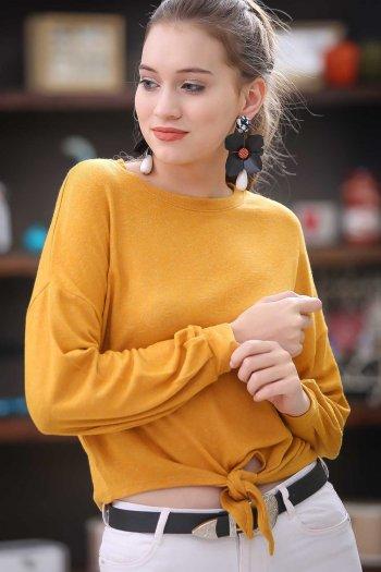 Casual beli bağlama detaylı bluz