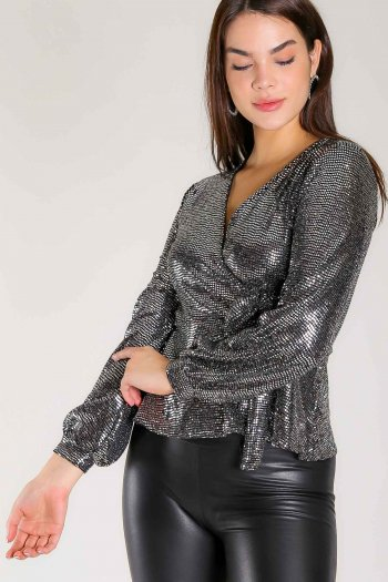 Double breast shiny blouse
