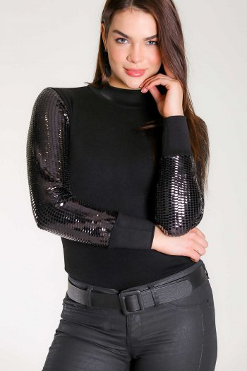High neck knit top sequin sleeves